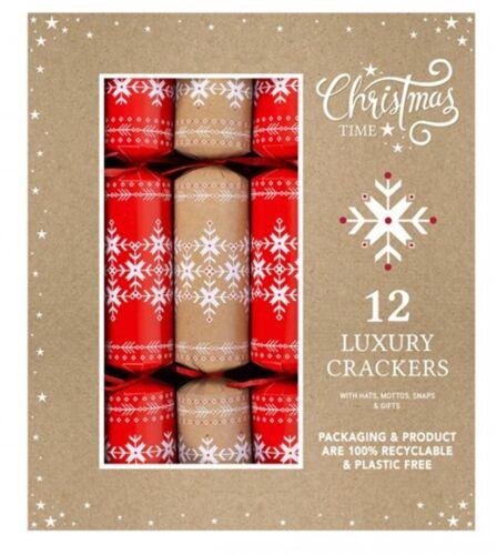 "Set Of 12 Jumbo 14"" Christmas Crackers Eco Friendly Snowflake Large Cracker"