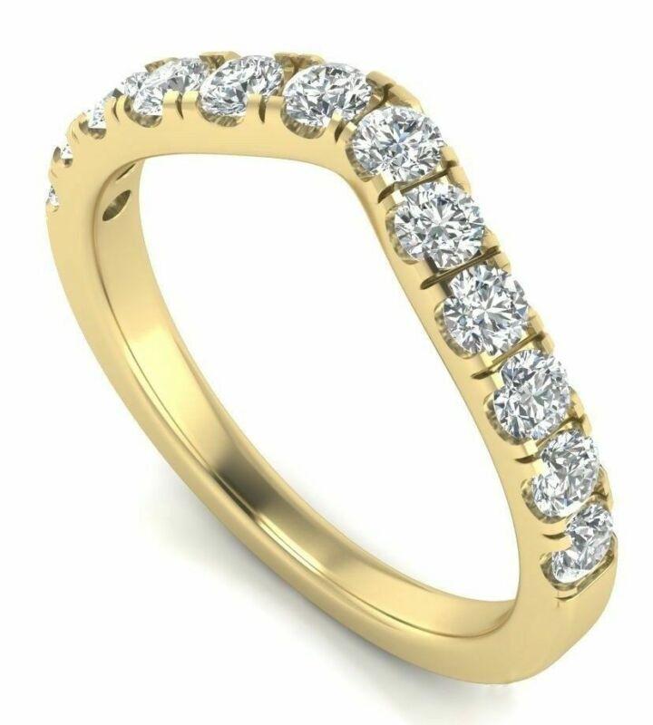 0.72 Carat 14K Yellow Gold Diamond Curved Wedding Ring Band Classic Guard