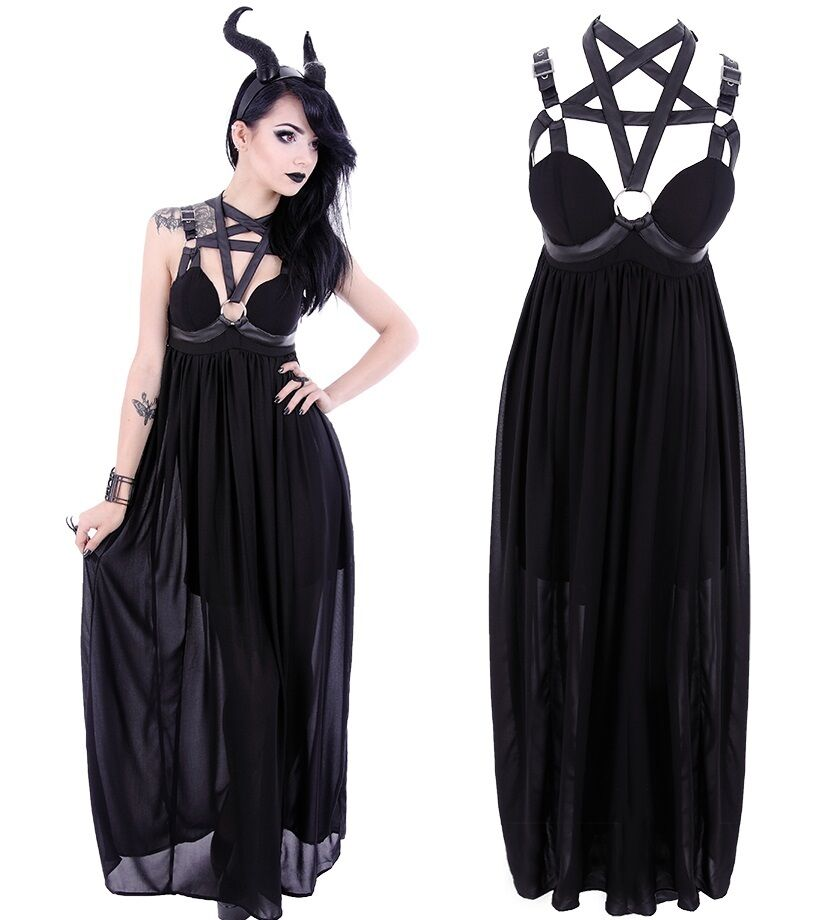 Restyle Pentagramm Kleid Gothic Witchy Dress Nugoth Harness Vintage Occult WGT