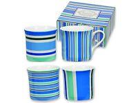 Heath McCabe Set of 4 Fine Bone China Blue Patterned Mugs BNIB
