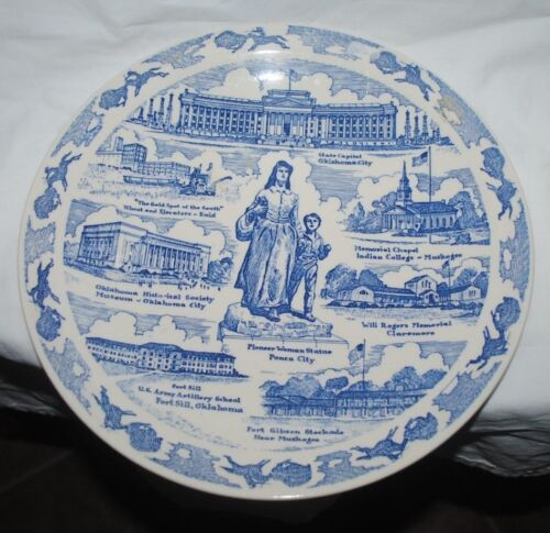 "Vernon Kilns 10.5"" Oklahoma plate, blue, Pioneer Woman, Capitol, etc"