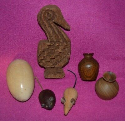 Wooden Mice Mouse ~ Turned Wood Pots Vases ~ Egg ~ Vintage Carved Pelican Bird