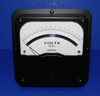Large Nos Vintage Weston Voltmeter Model 921 Panel Meter 300 Volts Dc