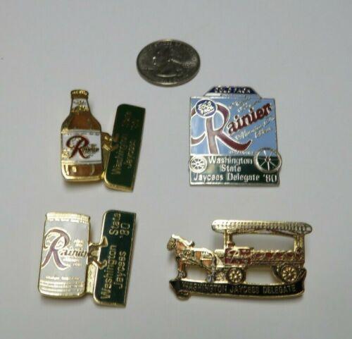 1980 Rainier Beer Washington Jaycees 4 Metal Enameled Pins