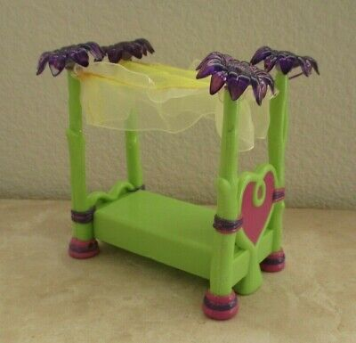 DISNEY Dollhouse Furniture Canopy Bed Green Purple Replacement Princess? -