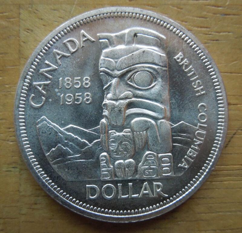 Canada 1958 $1 Dollar British Columbia Totem QEII Silver Coin UNC
