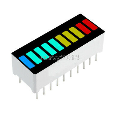2510pcs 10 Segment Blue Green Yellow Red Colorful Led Bar Graph Indicator Dip