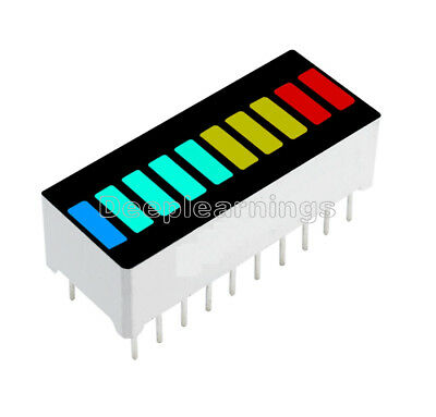 2510pcs 10 Segment Blue Green Yellow Red Colorful Led Bar Graph Indicator New