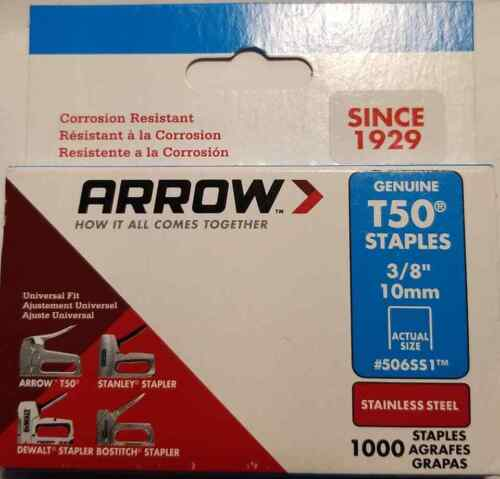 "Arrow Fastener 506SS1 3/8"" T50 Stainless Steel Staples (LOC PEG-1)"
