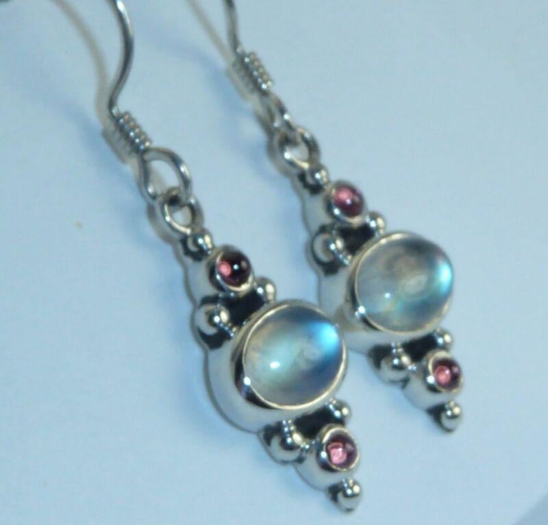 Vintage Sterling Earrings 7 x 5mm  Moonstone, 2mm Garnet Cabochons, Konder #798