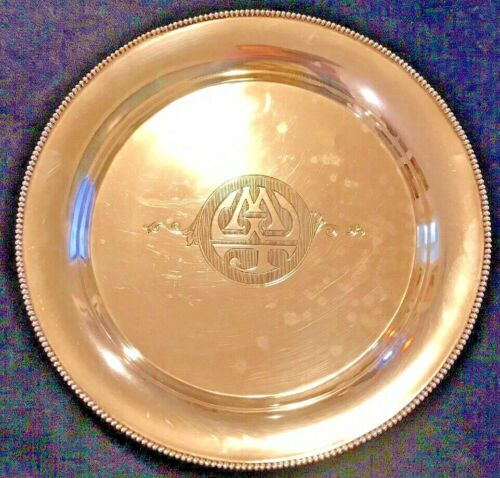 """Sterling Silver Large Dish Monogrammed """"MWJ"""""""