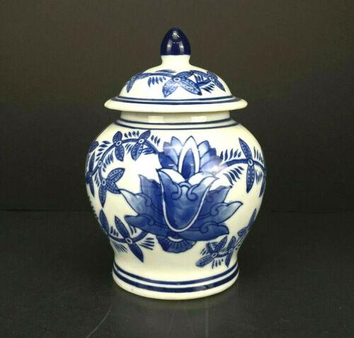 "BEAUTIFUL VINTAGE BLUE & WHITE FLORAL HAND-PAINTED PORCELAIN 6"" GINGER JAR!"