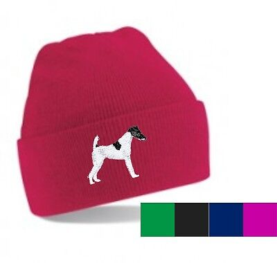 Smooth Haired Fox Terrier Beanie Hat Perfect Gift Embroidered by Dogmania