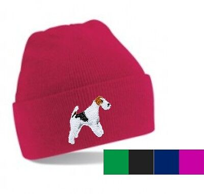Wire Haired Fox Terrier Beanie Hat Perfect Gift Embroidered by Dogmania