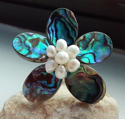 Handmade Abalone Shell and White Pearl Silver Plated Adjustable Ring - 8.4 grams for sale  San Angelo