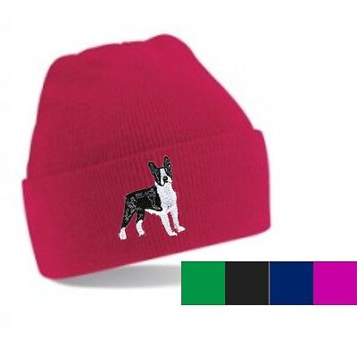 Boston Terrier Beanie Hat  Embroidered by Dogmania ()