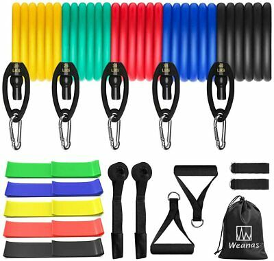 16 X Resistance Bands Yoga Pilates Abs Exercise Fitness Tube Workout Bands 150lb