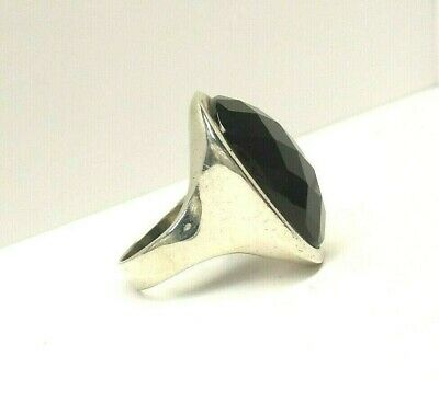 LARGE FACETED ONYX & STERLING SILVER 925  RING, MODERNIST, SIZE -