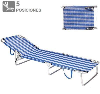 Deckchair Hammock Chair Folding Beach Pool Camping Rest Head 5 Positions