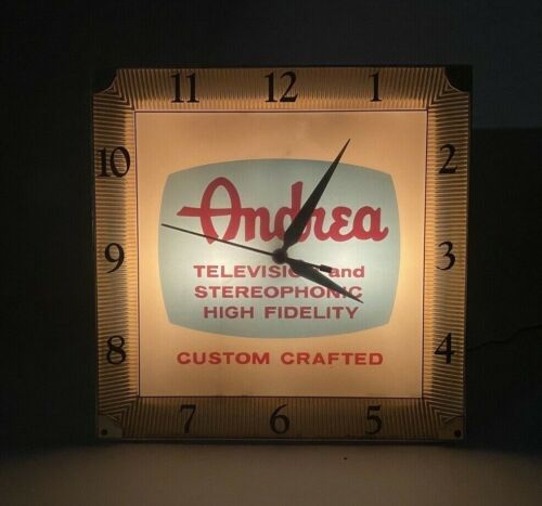 RARE Vintage!! Andrea TV And Stereophonic Hi FI Light Up Advertising Clock