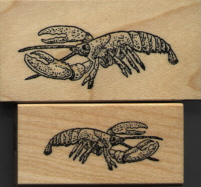 "mounted rubber stamps   Lobster set of 2   mounts 1 1/4"" X 2 1/2"" & 1"" X 2"""