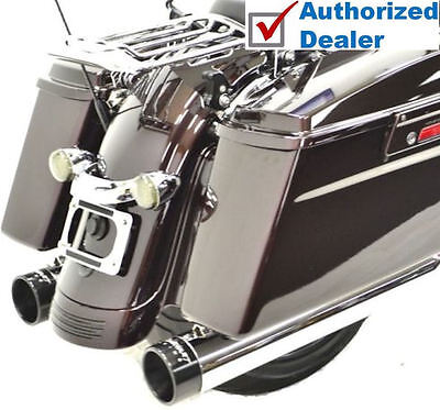 "Rinehart Chrome 4"" Slip-On  Black Tip Mufflers Exhaust 1995-2016 Harley Touring"