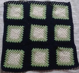 Handmade BABY BOY'S BLANKET, Crocheted granny squares. BRAND NEW.
