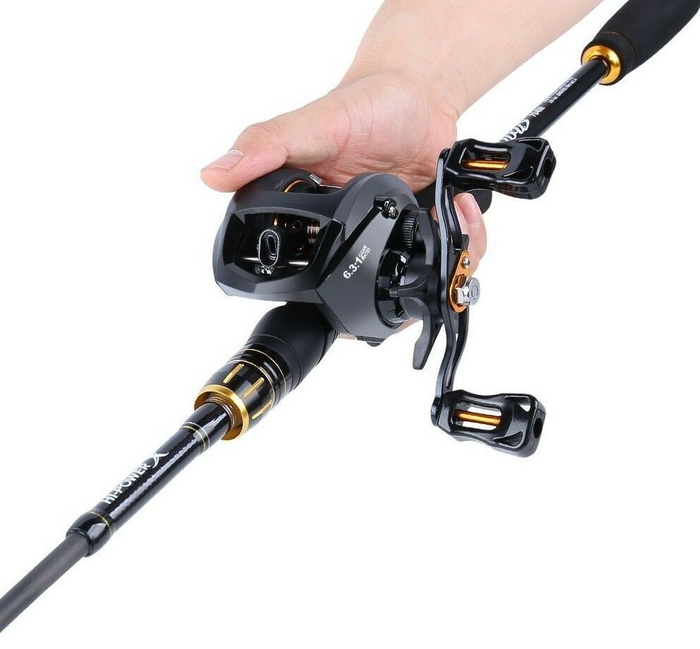 Fishing Rod And Baitcasting Reel Combo Carbon Spinning Lure Gear 4 Sections Tool | eBay
