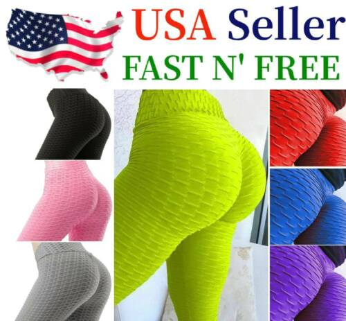 Women Leggings Anti-cellulite High Waist Push Up Yoga Pants Tik Tok Butt Lift Us