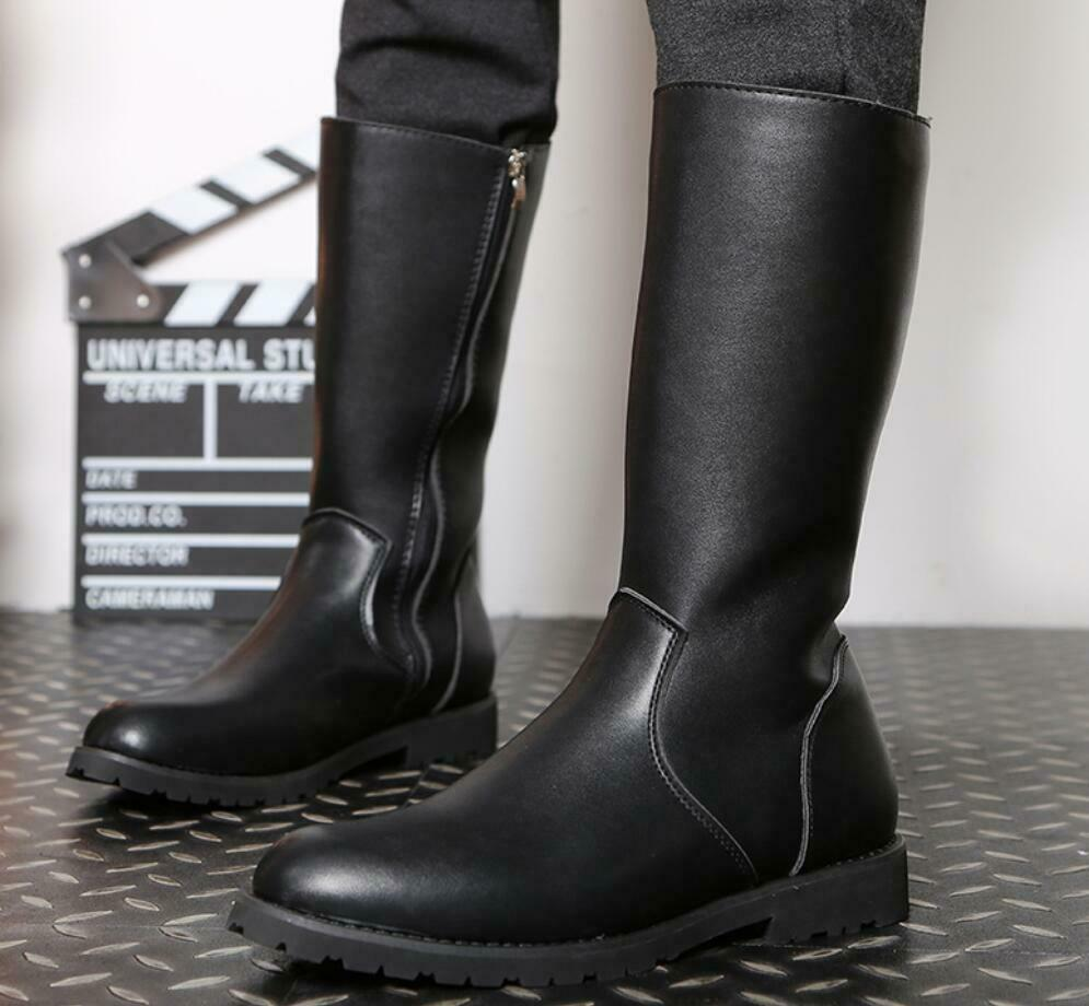 Mens Zip up Leather Combat Military Army Biker Mid Calf Long