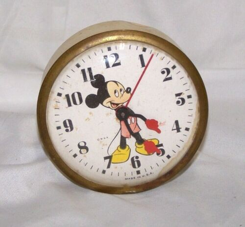 Vintage INGERSOLL MICKEY MOUSE ALARM CLOCK - DISNEYANA - For Parts