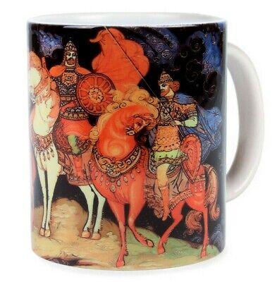 - Russian Fairy Tale Mug Palekh Fedoskino Lacquer Miniature Style Three Bogatyrs
