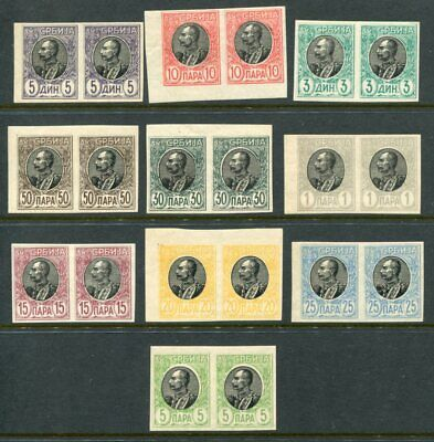 SERBIA 1905 KING IMPERF VARIETY MH PAIRS 10 Items