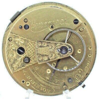 Antique W. Robinson English Key Wind Fusee Pocket Watch Movement + Diamond Jewel