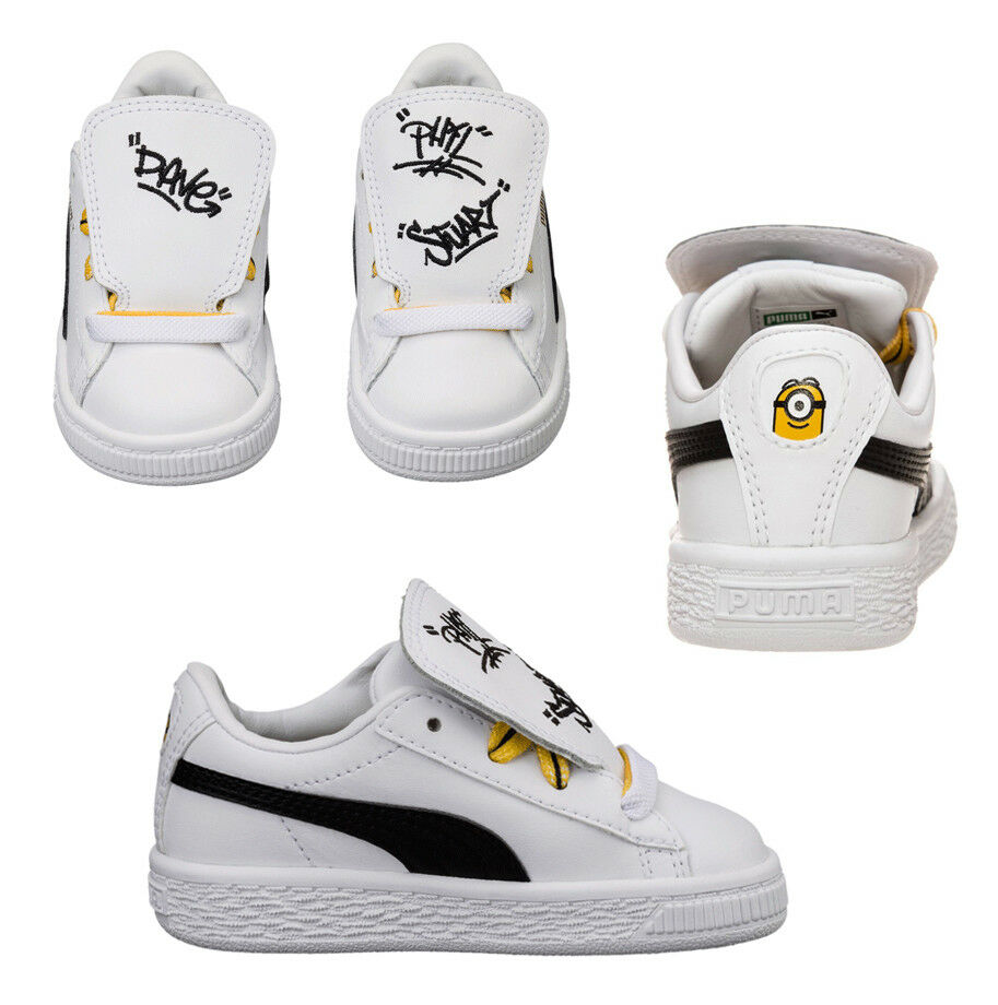 Puma Minions Basket Tongue Infant Toddlers Trainers White Shoes 365152 01 D31