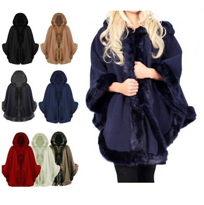 NEW WOMENS LADIES FAUX FUR PONCHO CAPE TRIM HOODED CELEB JACKET LUSH WRAP COAT  - Womens Capes
