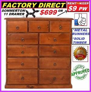 New Tallboy 11 Drawers Solid Timber. Pay Cash $699 Or Rent $9 P/W Ipswich Region Preview