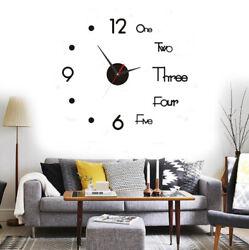 Modern DIY Removable Wall Clock 3D Mirror Surface Sticker Home Office Room Decor