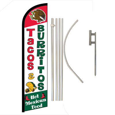 Tacos Burritos Full Curve Swooper Windless Advertising Flag Mexican Food Here
