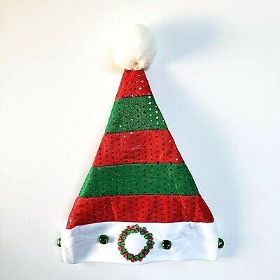 Santa And Elf Hats (Christmas Santa Elf Hat Sequins and Bells One Size Fits)