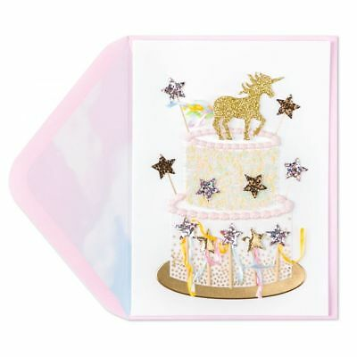 Unicorn Birthday Card -  Papyrus majestic Unicorn Cake Birthday Card - Gorgeous!