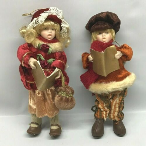 "Carolers Dickens Victorian Style Ornaments 7"" Cloth Porcelain Faces and Hands"