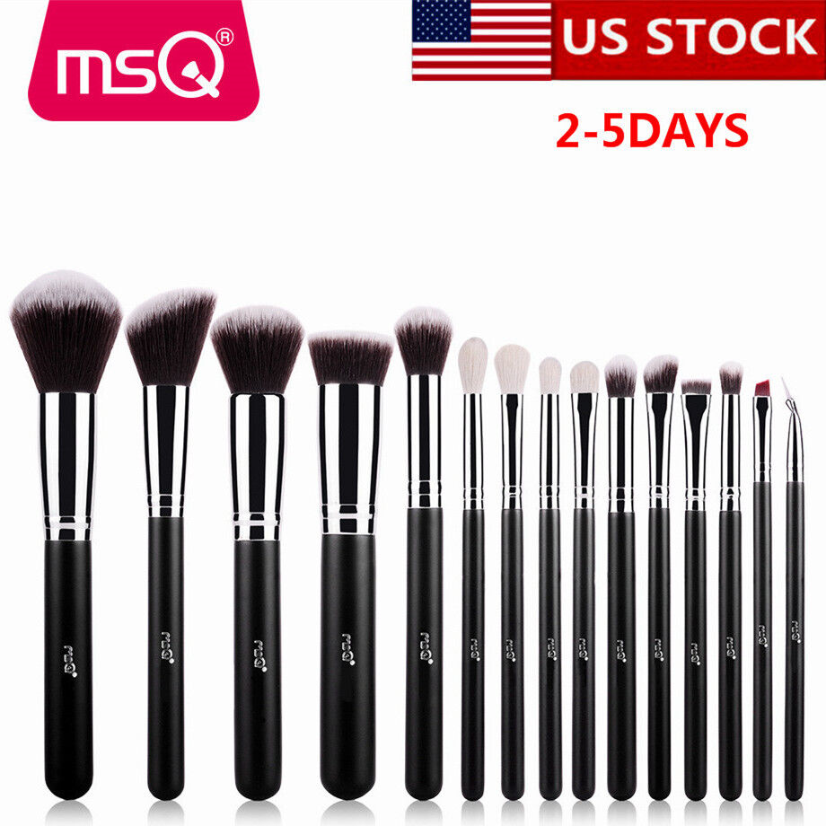 US Black 15Pcs Foundation Eyeliner Makeup Brush Set Blush Po