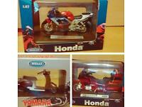 Dicast miniatures Honda motorcycles boxed as new,