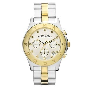 New Marc Jacobs Women 40mm Case Blade Two Tone Chronograph Watch MBM3177 $275