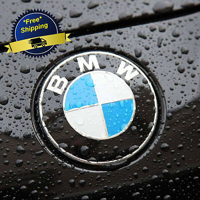BMW Logo Emblem 82 mm 2 Pins Sticker Front Rear Trunk Car Metal Auto Badge Set