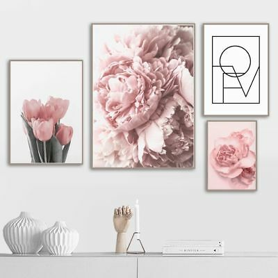 Pink Tulips Rose Flower Wall Art Painting Nordic Minimalism Posters (Pink Tulip Pictures)