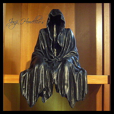 GRIM REAPER Shelf Sitter Figurine Ornament Gothic Pagan Wiccan Fantasy Myth Gift