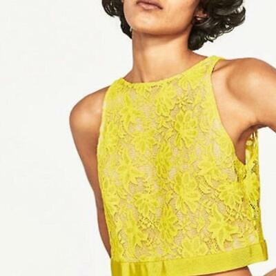 Zara Yellow Lace Crop Tank Open Back Tie Back Size Large NWT