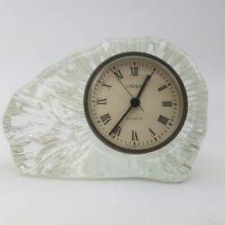 Linden Iceberg Glass Quartz Alarm Clock Heavy Crystal Casing Rare MCM W. Germany